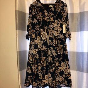 New Eliza J Navy Blue Floral Dress Sz 14W
